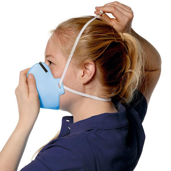 Das Band der Atemschutzmaske wird platziert.